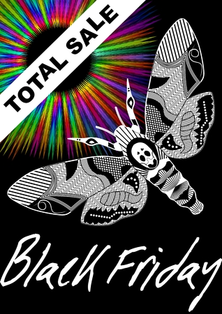 Black Friday Total Sale with deaths head hawkmoth drawing and psychedelic rainbow rays on black background, vector leaflet template
