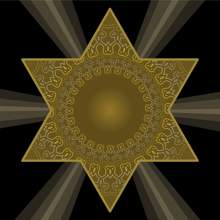 Golden Star of David in antique style. Filigree patterns on dark gold color. Jewish religious symbol on black background with rays of light.