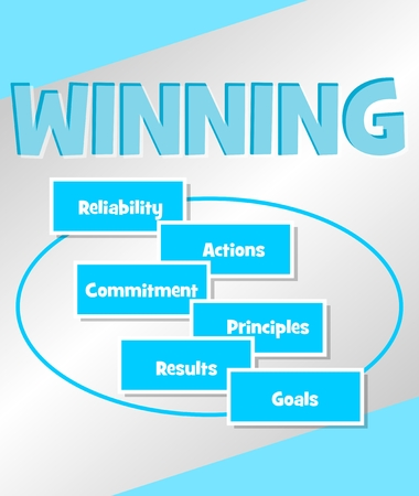 Winning strategy. Business concept in simple blue design. Concepts Reliability Actions, commitment principles, results goals in multicolored speech bubbles.