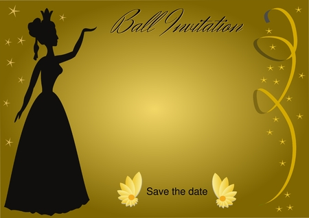 Luxurious ball invitation with vintage lady silhouette on golden gradient background with golden ribbons and small golden stars, vector template