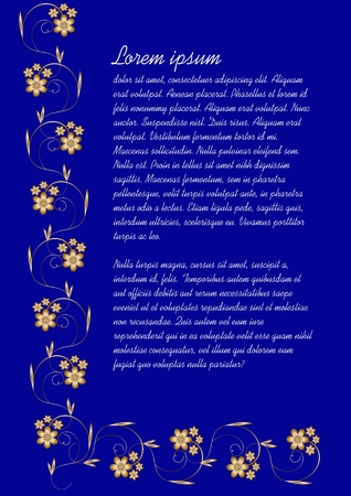 Dark blue background with elegant gold vintage flourish ornament. Vector template for announcement, leaflet, flyer, copy-space white sample text, vector template Çizim
