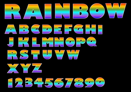 Rainbow massive font, upper case in vivid colors, numbers, alphabet set in metallic design, vector abc collection