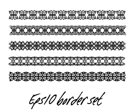 Antiquarian border set in black and white, monochrome collection of vintage border, filigree art deco elements, vector design