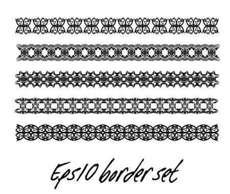 Antiquarian border set in black and white, monochrome collection of vintage border, filigree art deco elements, vector design