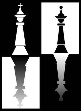 Chess theme with king and queen pieces mirroring on chess fields, black and white inverse design, vector illustration Illustration