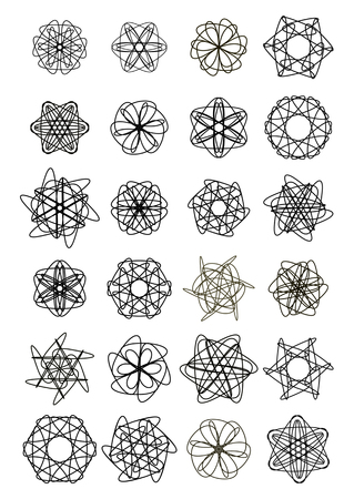 Mega set of doodle design star shapes, elegant geometric patterns, symmetric lace ornament, vector design