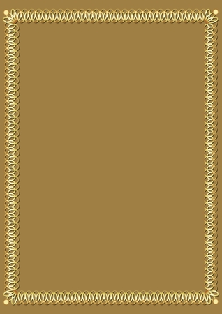 Border with 3d embossed effect. Decorative luxurious golden frame on golden background. Border 3d embossed effect. Elegant template for an announcement, invitation, certificate, vector illustration Ilustração