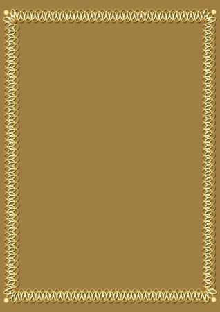 Border with 3d embossed effect. Decorative luxurious golden frame on golden background. Border 3d embossed effect. Elegant template for an announcement, invitation, certificate, vector illustration Illustration