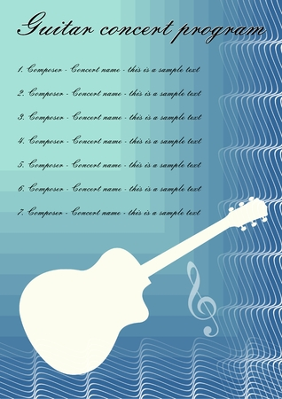 Guitar concerts program template with white guitar silhouette, sample text on blue abstract background, calligraphic ornament and treble clef, vector template