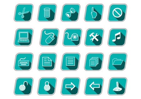 Icon set with computer symbols, green skew icons, long shadow, white pictograms, vector icons