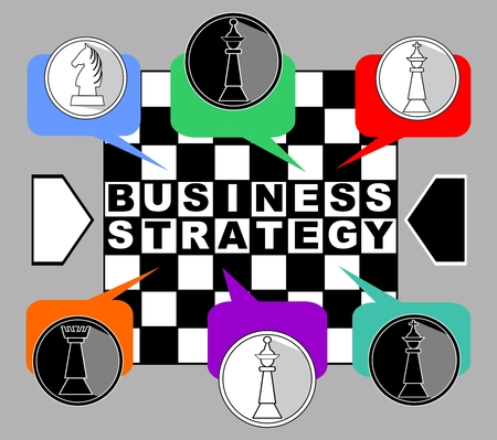 Business strategy banner. Chess metaphor with king, queen, rook and knight od chessboard. Chess pieces in multicolored speech bubbles. Inverse inscription Business strategy. Vector business template.