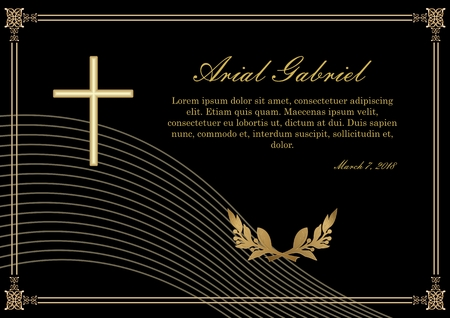 Funeral announcement in luxurious design. Filigree golden embossed patterned borders. Luxurious obituary with golden crucifix and lawrence branches on black background. Vector template Ilustrace