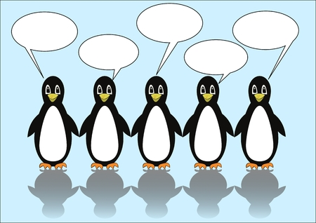 Group of five penguins with speech bubbles. Blank callouts for own message. Cute illustration on light blue ice background, vector illustration