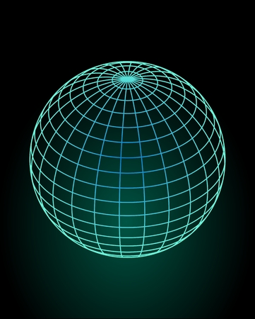 Wireframe globe model in green and blue design, green glow on black background. 3d space illusion. Vector design element.