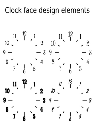 Classic clock face design elements, set of four clock faces in monochrome black and white design, vector template