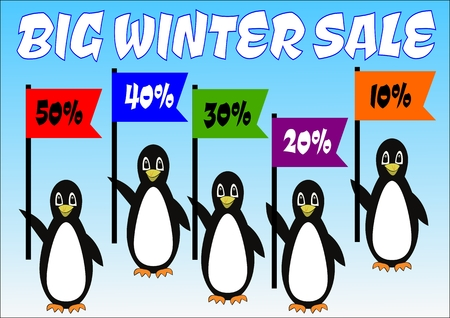 Penguins group with percent flags on banner big winter sale, advertisement of winter discount up to 50 percent, cute birds, ice gradient background, five penguins cartoons with colorful flags, vector