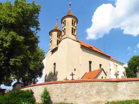 Old rural church with a Romanesque tower, Kondrac village, Czech Republic