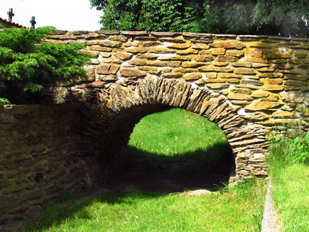 Old stone bridge on the way to the cemetery, Czech republic, Kondrac village