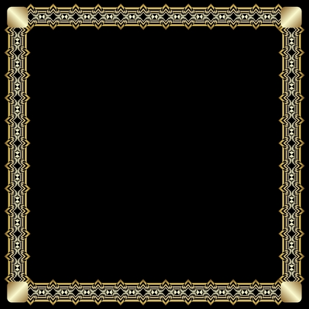 Elegant square border with 3d embossed effect. Ornate luxurious golden frame in art deco style on black background. Unusual decorative label design, vector illustration