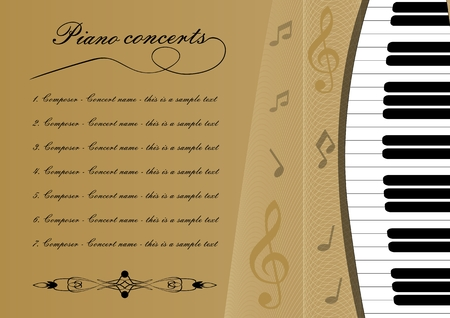 Piano concert program template with cut out of keyboard, treble clef and some notes, musical leaflet, golden background with wavy curves