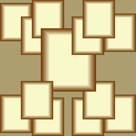 Plastic golden square composition, abstract tile with 3d squares, optical art, space illusion, abstract vector background