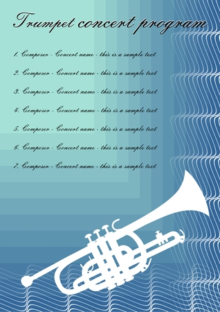 Trumpet concerts program template with white trumpet silhouette, sample text on blue abstract background, vector template
