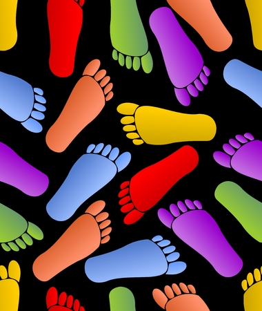 Multicolored footprints on black background, human traces in red, green, orange, purple and yellow colors, seamless background, fabric patterns, textile ornament Ilustrace