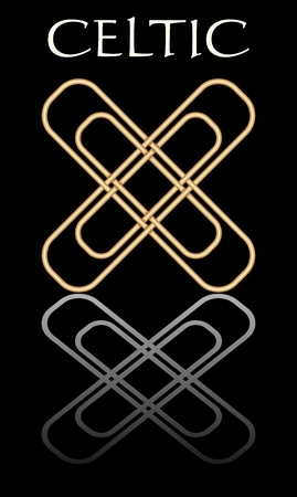 Celtic knot in golden design with mirror on black background. Simple elegant abstract shape, symbole of celtic culture.