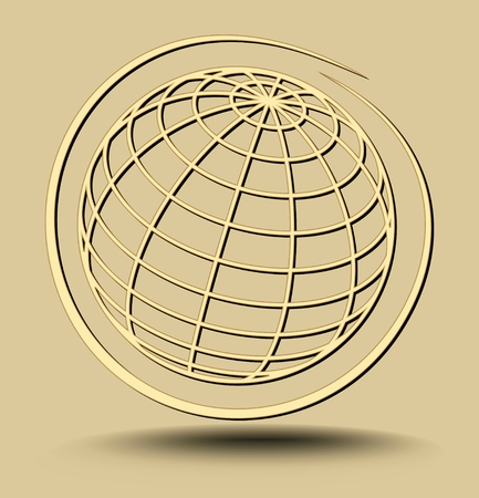 Earth planet golden outline embossed on light golden background , minimalist luxury planet motif in circle