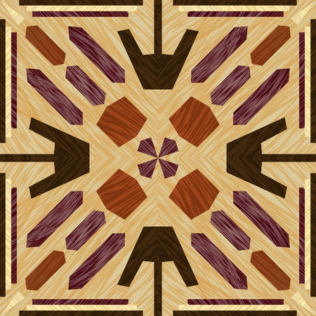 Inlay tile, wooden textured patterns, symmetric decorative ornament in light and dark types of wood, wood art object Ilustrace