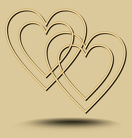 Two hearts overlapping on light golden background with embossed wavy elements, minimalist luxury love motif