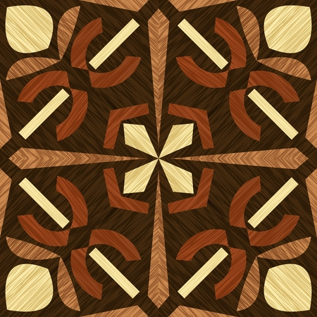 Wood inlay tile, wooden textured patterns, geometric decorative ornament in light and dark types of wood, wood art object