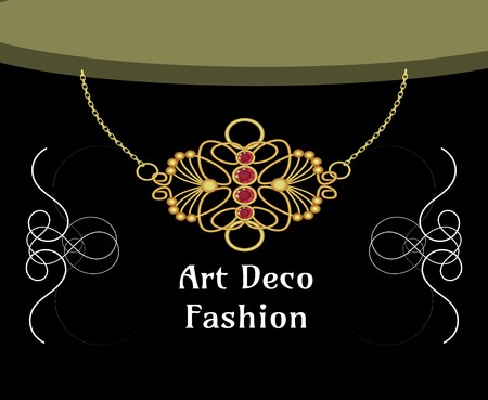Art deco necklace with ruby pendant, isolated object on black background, art noveau style, victorian fashion, vector design