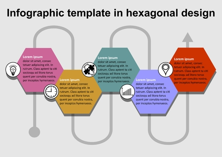 Infographics template with hexagonal colorful text folders and icons, interconnection of individual elements by a wavy line, gray background Иллюстрация