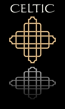Celtic knot simple elegant abstract shape, symbole of celtic culture. Golden design with mirror image on black background.
