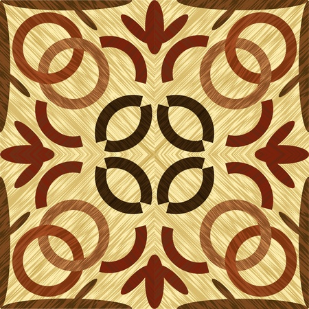 Wood art inlay tile, symmetric patterned geometric ornament from dark and light wood in vintage style, vector template