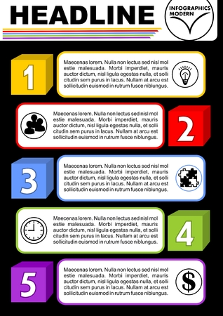 Infographic process visualization template, abstract vector with colorful cube elements, icons and copy space, five multicolored elements available