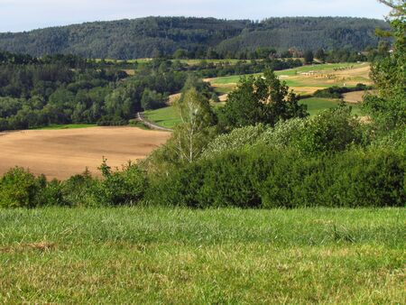 Rural hilly landscape, country with green meadow in summer, plowed field, Czech republic