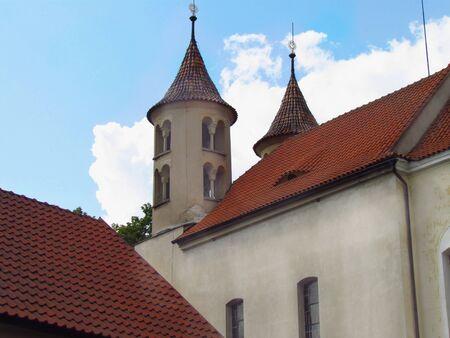 Old rural church with a Romanesque tower, Kondrac village, Czech Republic
