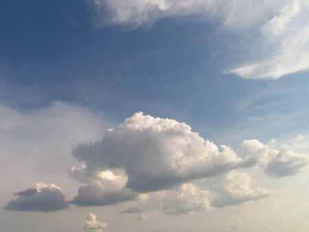 Dramatic clouds in summer sky, photographic background