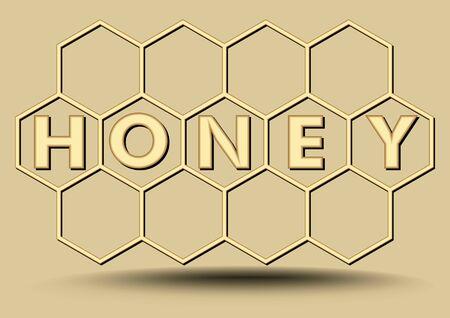 Honey banner in gold design, hexagonal honeycomb, beekeeping banner with honey inscription
