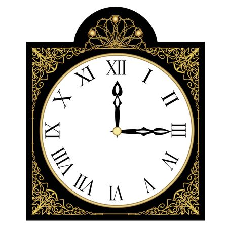 Black antique richly decorated clock, clock face with roman numbers, isolated art deco object with golden filigree patterns, patterns, measuring time, vector illustration
