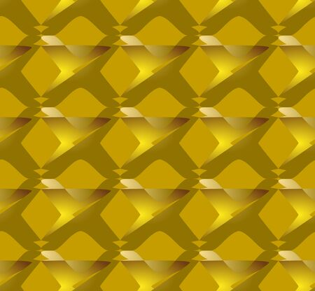 3d gold patterns on gold background, seamless tile. Modern ornament, luxurious golden abstract shapes, vector design