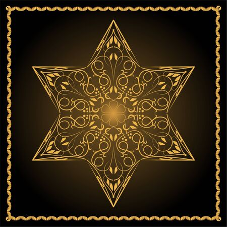 Star of David, jewish religious symbol in golden filigree design on black background. David star with inner glow and fine golden frame.