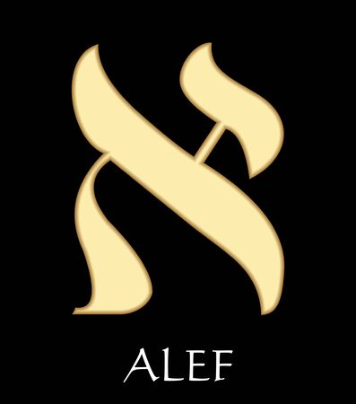 Hebrew letter alef, first letter of hebrew alphabet, meaning is head of a bull, gold design on black background