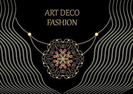 Art deco jewel. Vintage gold necklace. Jewelry in victorian style. Retro filigree gold pendant. Antiquarian jewelry. Filigree gold necklace. Ancient vector jewel. Pendant with ruby.