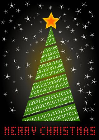 Crazy digital Christmas tree with a needle made of binary code. The red LEDs show the inscription Merry Christmas. Unusual xmas card for PC lovers. Vectores