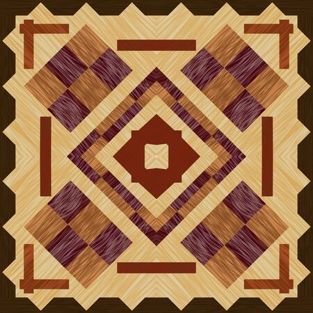 Wooden art decoration template.. Wooden inlay, light and dark wood patterns. Veneer textured geometric ornament. 일러스트