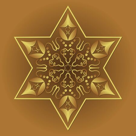 Star of David, jewish religious symbol in golden filigree design on golden background. Isolated graphics