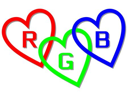 RGB color space designed like hearts with letters R,G and B, basic red, basic blue and basic green. Ilustração